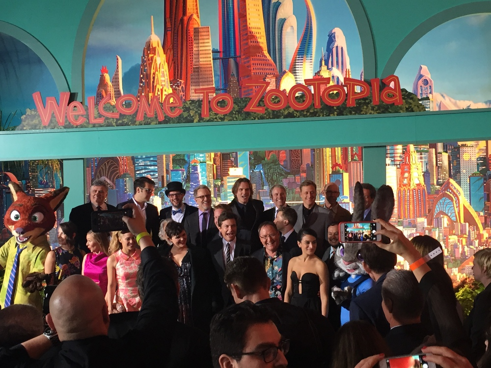 The cast and crew of Disney's Zootopia at the Hollywood Red Carpet Premiere. Photo: M.Darby