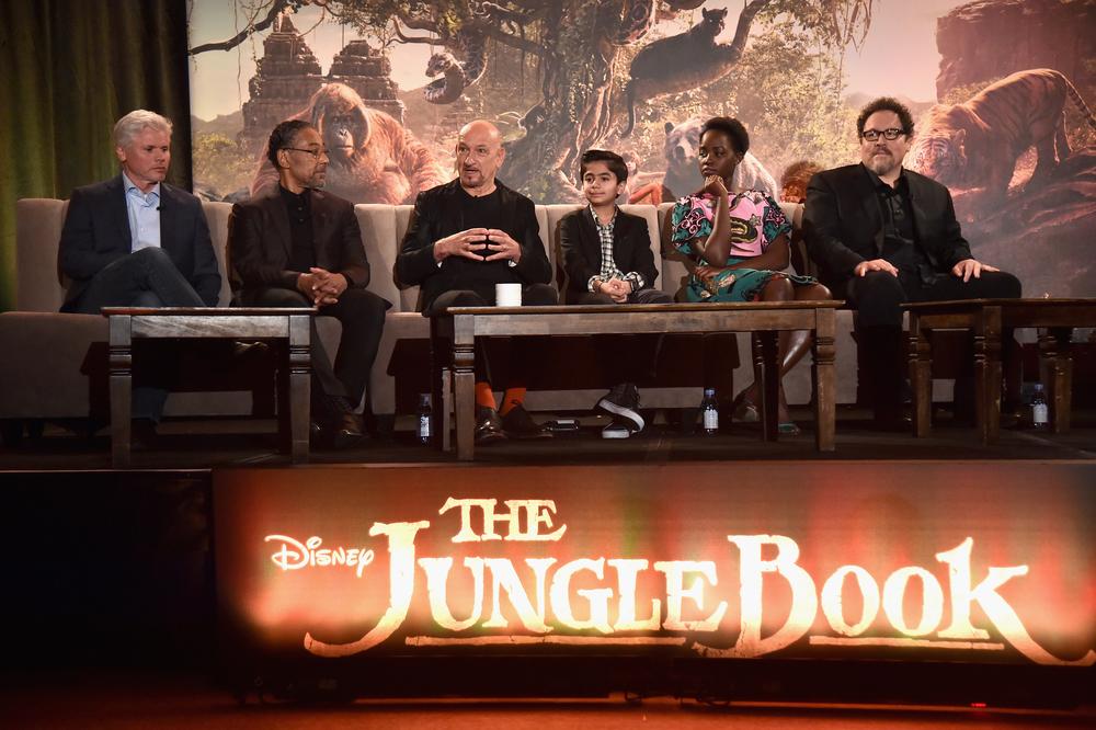 L to R: Producer Brigham Taylor, Giancarlo Esposito, Sir Ben Kingsley, Neel Sethi, Lupita Nyong'o, Director Jon Favreau. Photo courtesy of Disney.