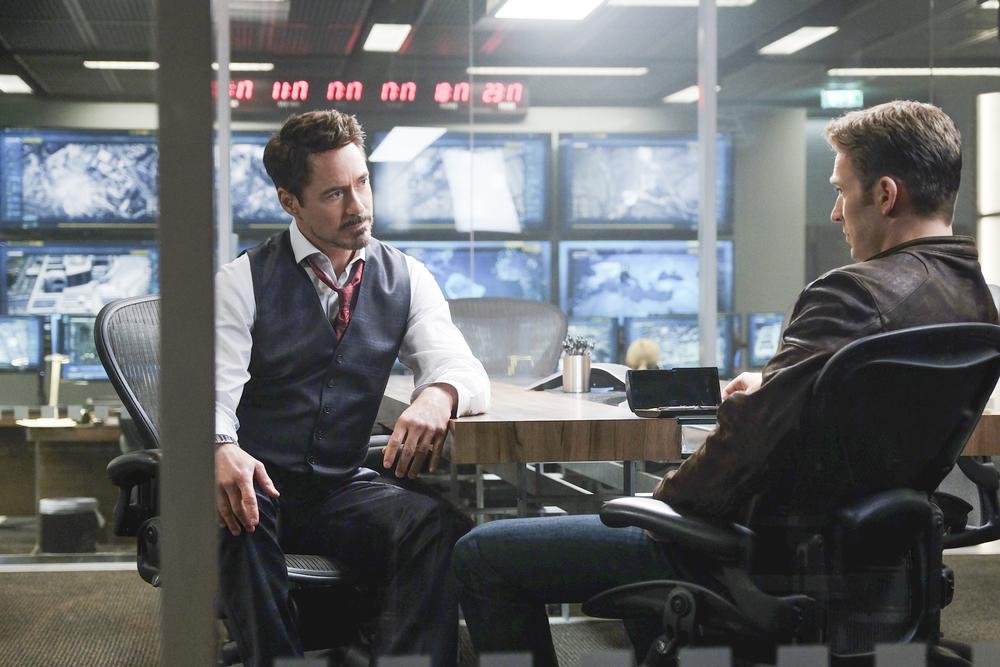 Robert Downey Jr. (Tony Stark / Ironman) and Chris Evans (Steve Rogers / Captain America). Photo courtesy of Marvel