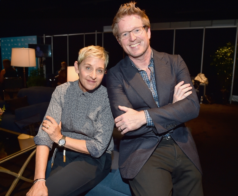 Ellen DeGeneres as the voice of 'Dory', Director Andrew Stanton. photo courtesy of Disney•Pixar.