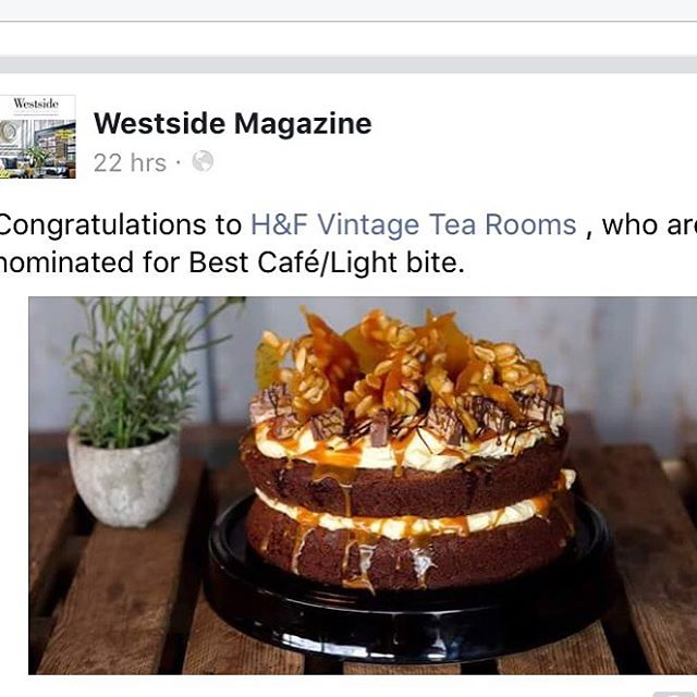 Delighted to receive this exciting news ... #delighted #vintage #tearoom #nomination #awards #teamwork #highfive ☕️🍰