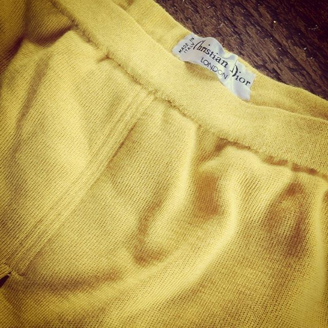 When your #brother drops off this little #vintage number .... 😍 #christiandior #woollove #yellow #skirt Thank you kindly my dear... 😘 #blessed #family