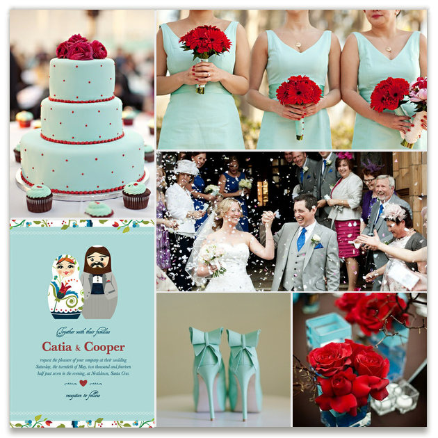 For brides who prefer a different palette, an alternate mood board shows an aqua and red color combination.