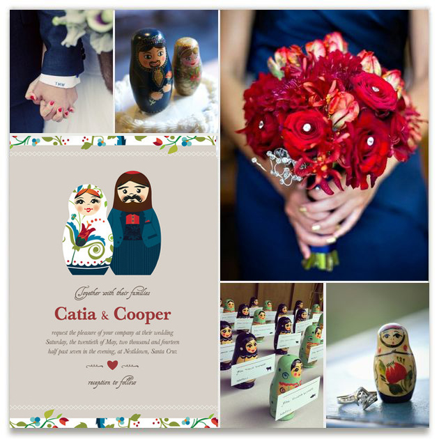 A mood board shows couples how the Russian Nesting Dolls invitation can be integrated into their wedding. Shades of deep blue, jade green and crimson complement the invitation and bring the wedding to life with inspirational imagery and coordinated elements.