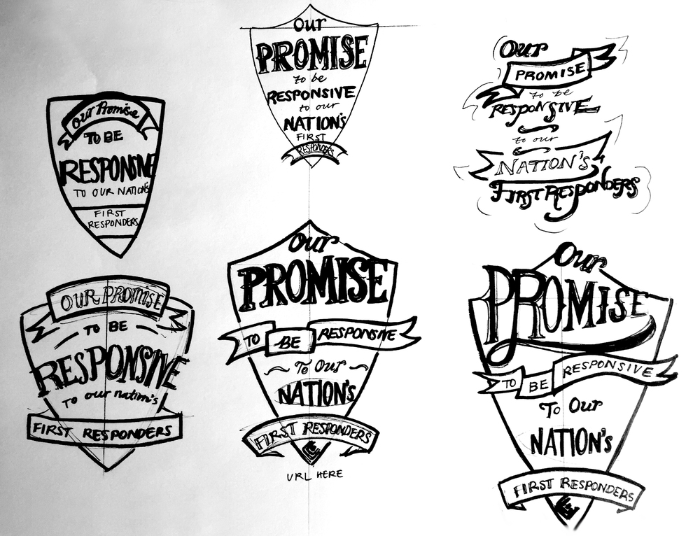 Initial sketches of brand energizer: a shield that encompasses the California Casualty promise, first responder logos, and provides a call to action URL.