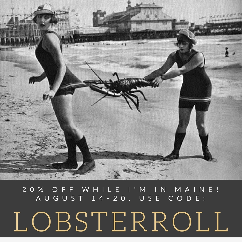 While I'm away vacationing in my home state of Maine, I thought I'd throw a little sale in the shop! 20% off all items! Use coupon code LOBSTERROLL at check-out. Expires August 20th. All purchases will ship Monday August 22 when I return. Enjoy!  Follow me on Instagram @bobbinbombshell for pics of my trip! Shop profile @bobbinsandbombshells.  Cheers, Karen