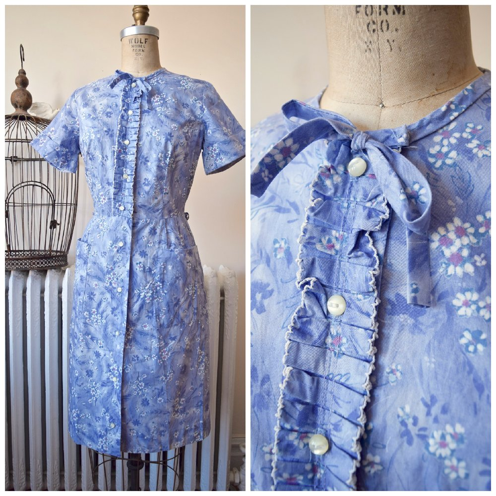 Forget Me Not Dress. Vintage 1940's Jeanne Crain shirtwaist with ruffle front.