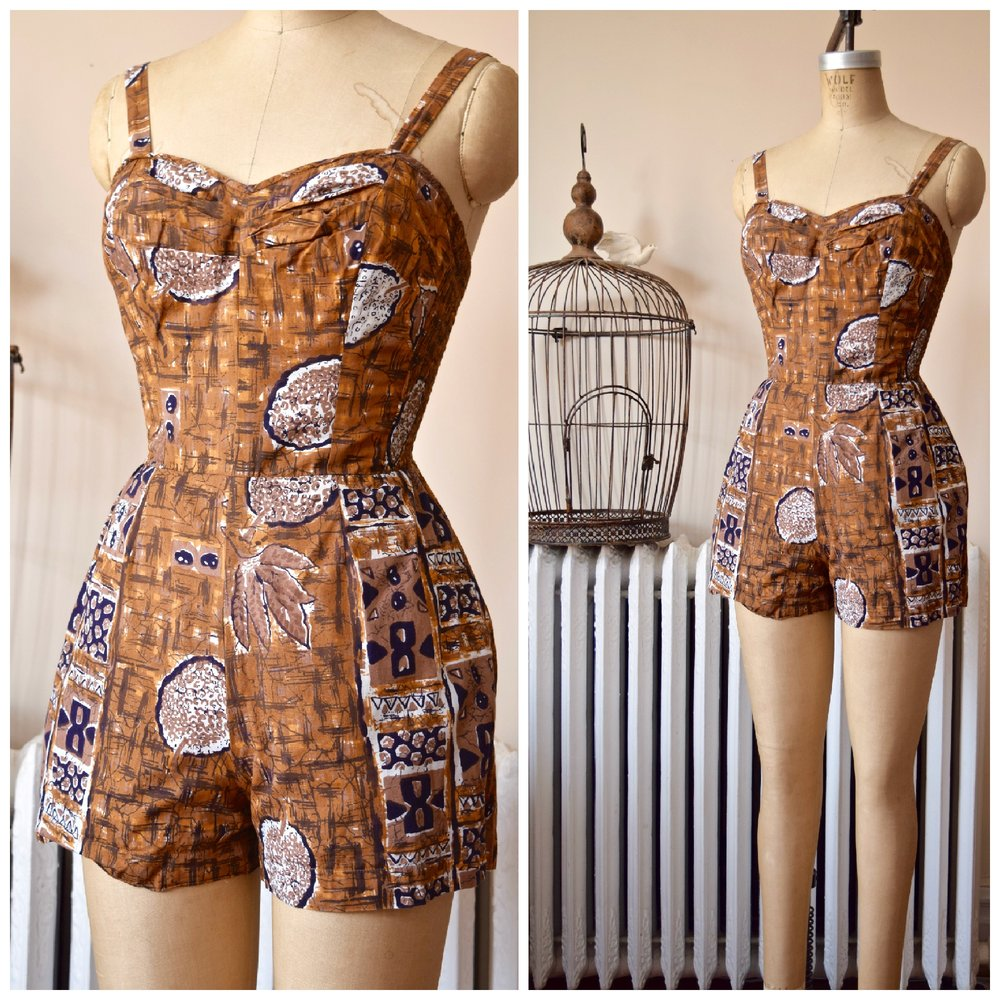Kona Romper . Vintage 1950s Kapa print. Made in Hawaii for B.Altman.