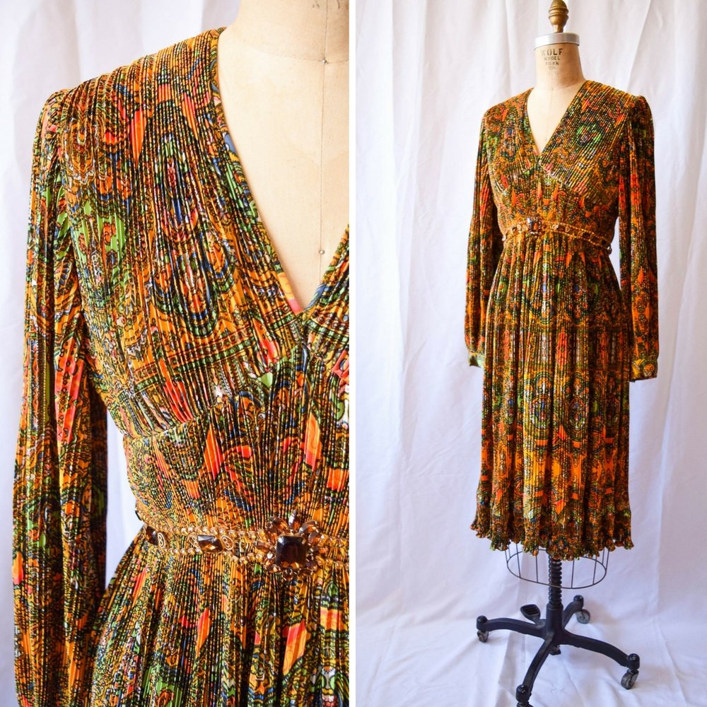 "Shannon Rodgers for Jerry Silverman. 1970s dress. Bust 34"". $245."
