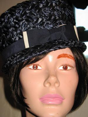 vintage navy raffia hat