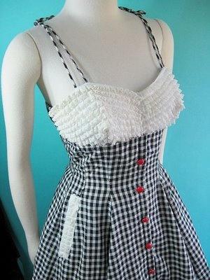 gingham vintage dress 1950's