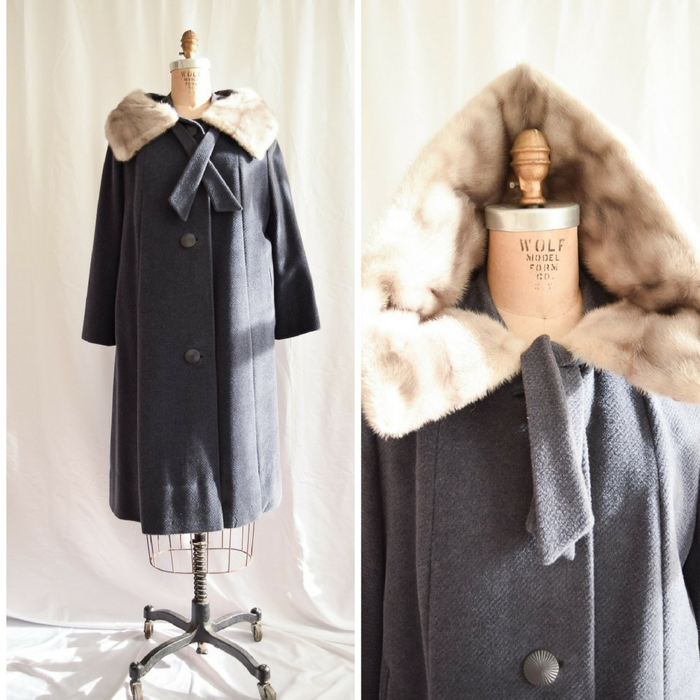 Rondella. 1950s wool swing coat with amazing fur collar. Click picture to see listing.