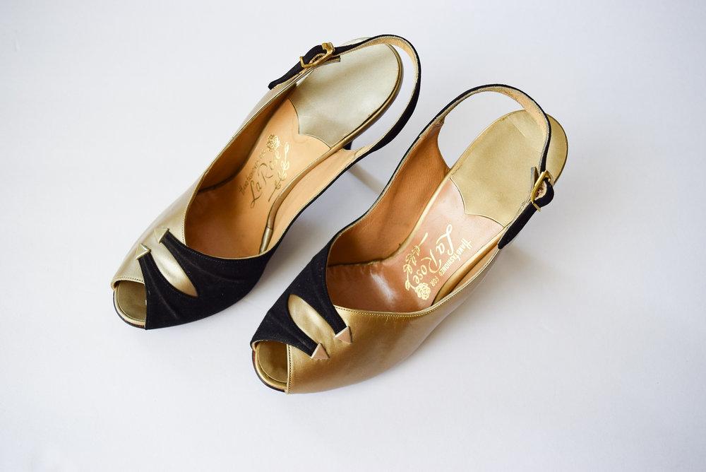 20c63a319b61 Vintage 1950 s Black Suede Gold Leather Two-Tone Slingback Stilettos. Sz.  5.5