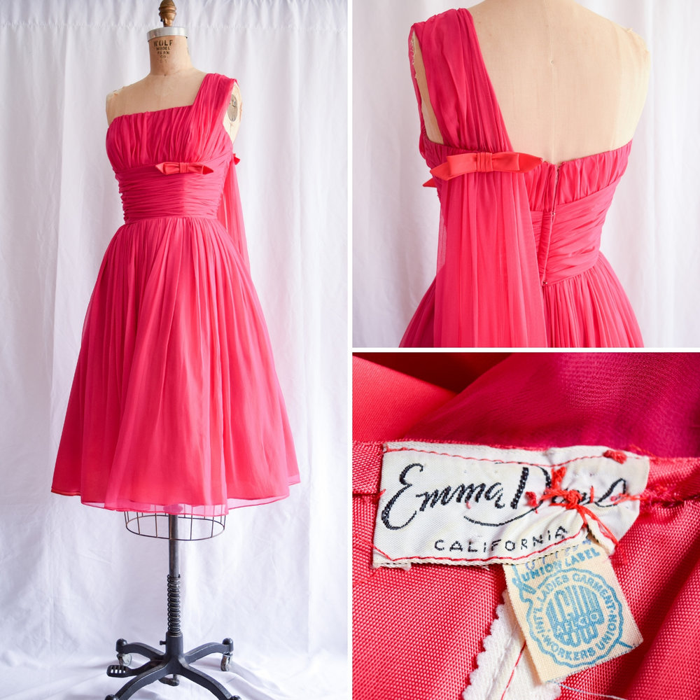 c197775ed98 Vintage 1950 s Hot Pink Chiffon Party Dress. Sz. S. vintage emma domb dress