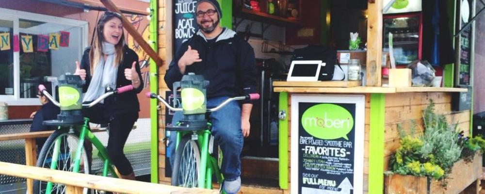 Use the power of the bike to blend your own smoothie at Moberi! Or grab a yummy acai bowl.