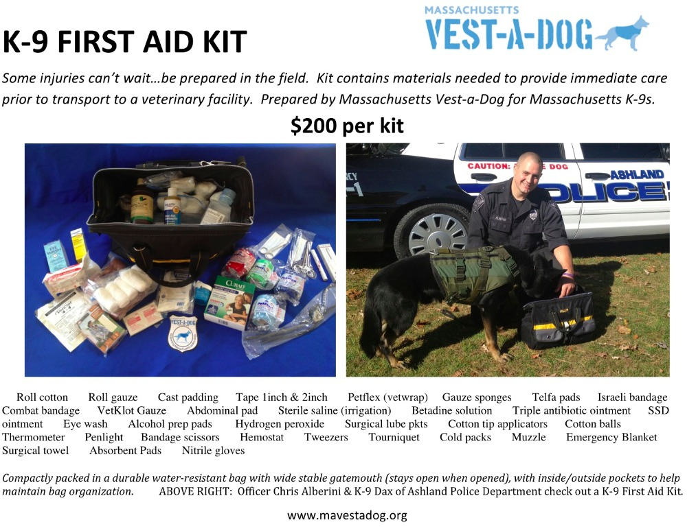 Boston K-9s encounter dangerous and potentially harmful situations often, and K-9 First Aid Kits contain the materials needed to provide immediate care to injured police dogs while in the field.