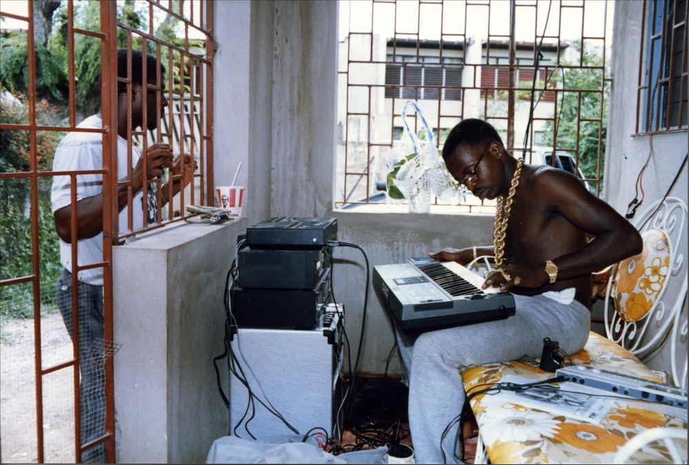 Dancehall star Tiger composes at home.   (Photograph copyright Beth Lesser. Courtesy of Soul Jazz Records Publishing.)