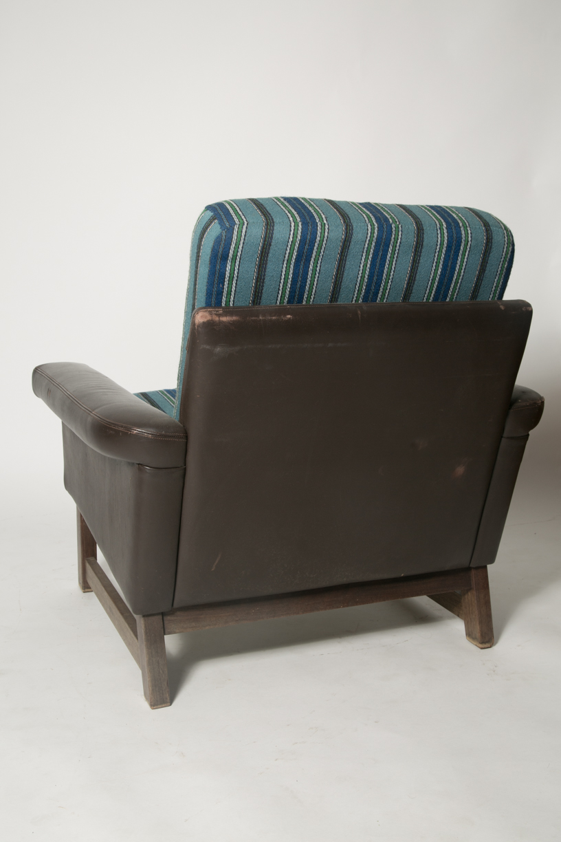 Danish leather modern blue wool chair 7.jpg