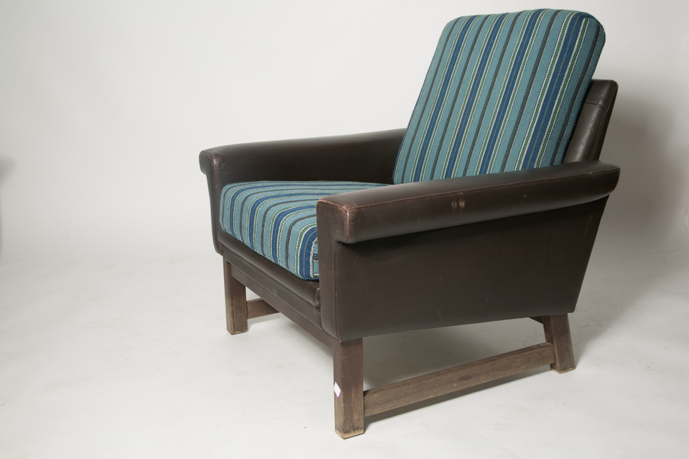 Danish leather modern blue wool chair 6.jpg