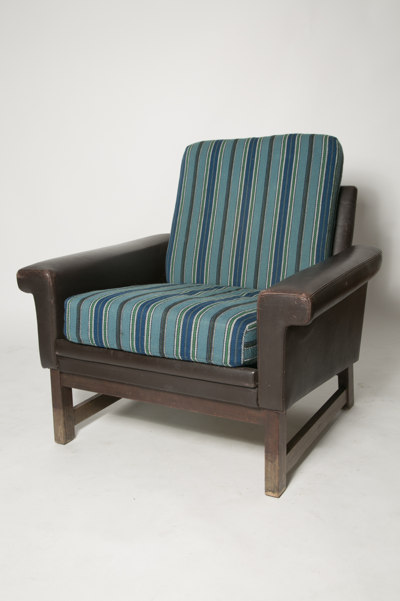 Danish leather modern blue wool chair FRONT.jpg
