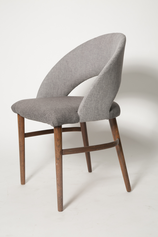 Vintage Frode Holm Rosewood & Gray Vanity chair 3 FRONT.jpg