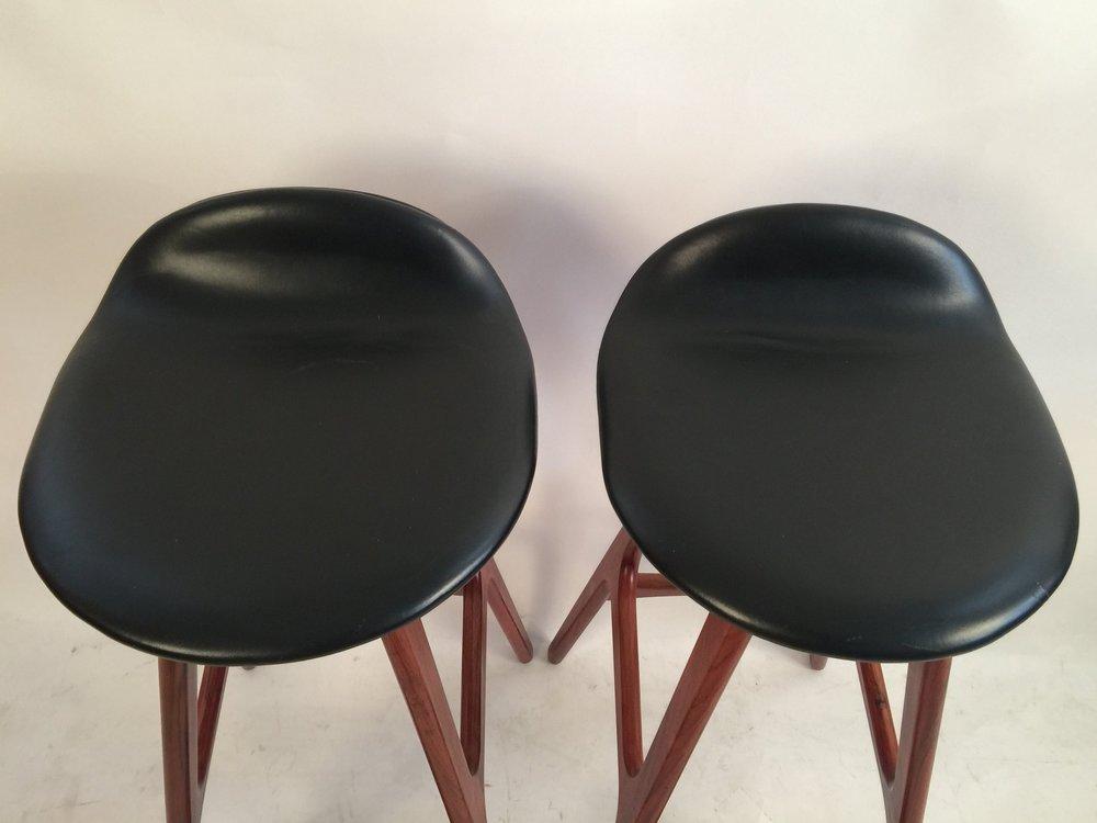 Erik Buck pair of black leather and rosewood bar stools_model 0D61  6.JPG