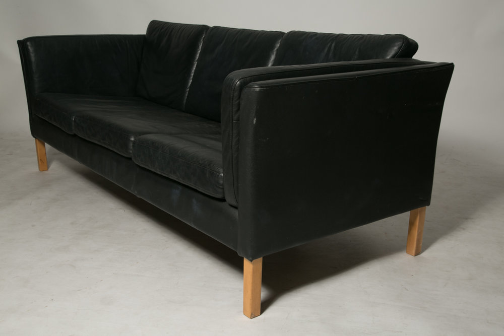 Black leather down filled sofa