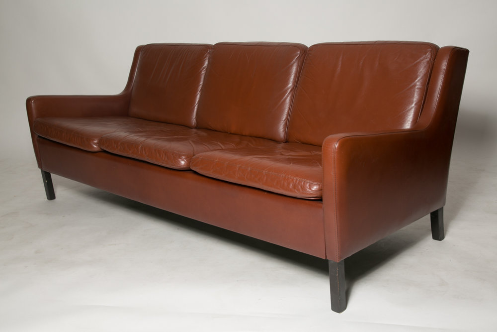 Danish Auburn leather Sofa