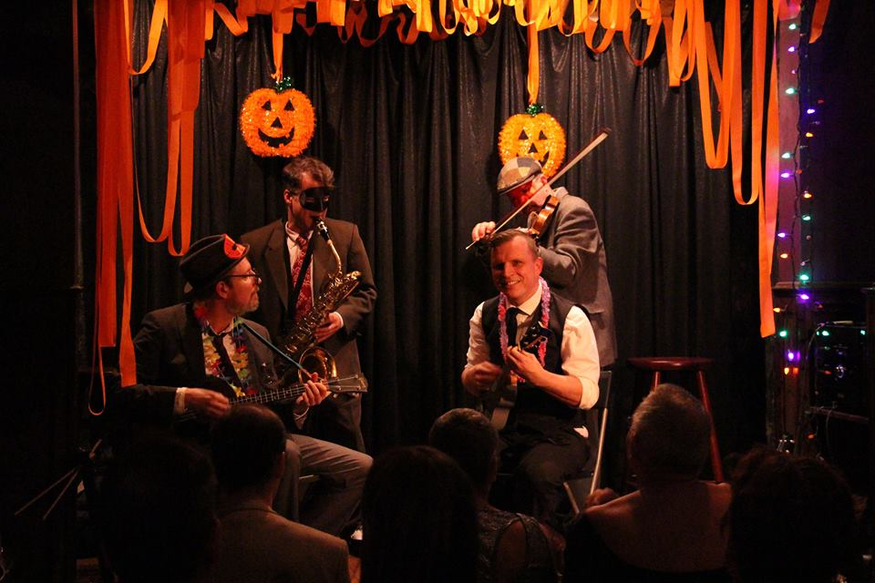 """Playing """"Mysterious Mose"""" at the Ukulele Cabaret Halloween Show, Jimmy's No. 43, October 2015"""