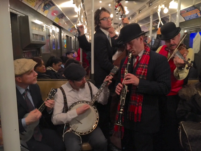 The $1.25 Quartet plays to a packed train...with Sammy Weissberg on bass.