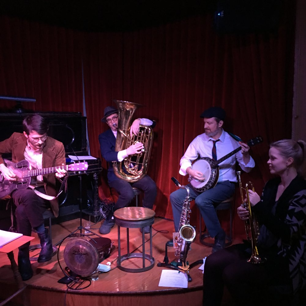 Red Room, February 9th, 2017, with L-R: Adam Brisbin, resonator guitar; David Ostwald, tuba; Angus Loten, tenor banjo; and Bria Skonberg, trumpet.