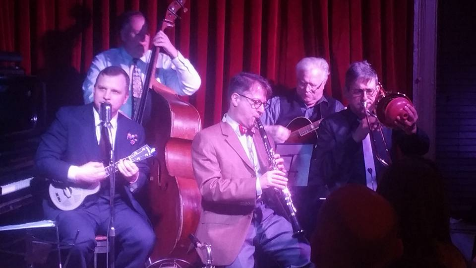 Ben Mealer sings, with Brian on bass, John B. on clarinet, John Gill on guitar and Jim Fryer on sliphorn.  Red Room, 3/9/17.   Photo: Ben Guthrie