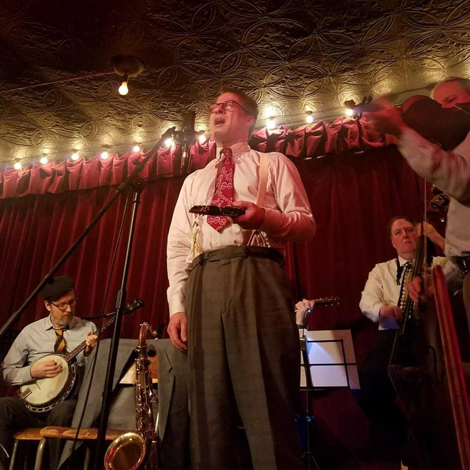 """The boys, with John asking the musical question, """"Why?""""Jalopy Theatre, 3/30/17 Photo: Aaron Thurston"""