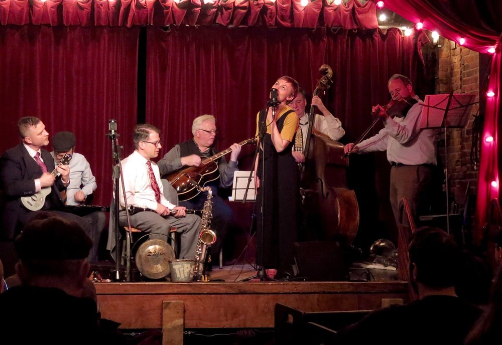 """The boys, with Kat Edmonson singing """"Deed I Do"""" Jalopy Theatre, 3/30/17 Photo: Neal Siegal"""