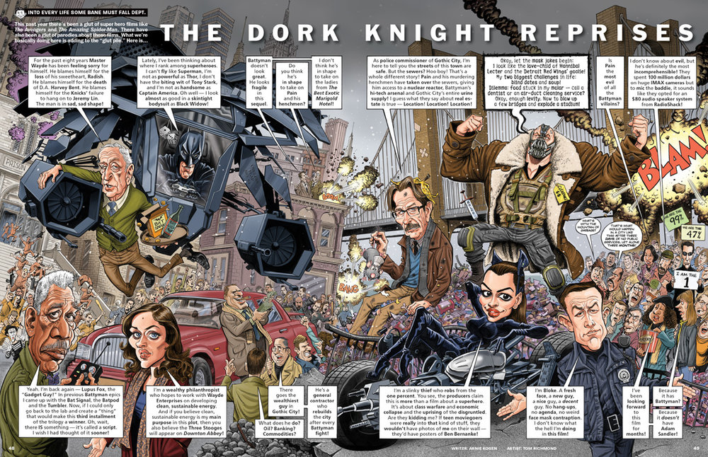 Tom Richmond's work on the Dork Knight published by MAD Magazine.