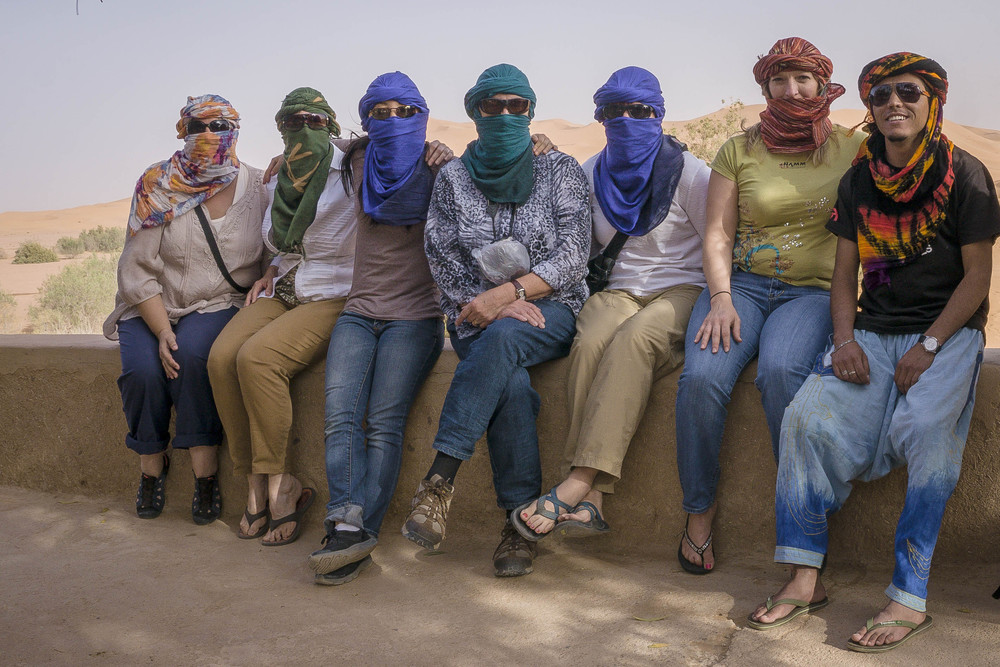 Morocco Tour Group in Desert