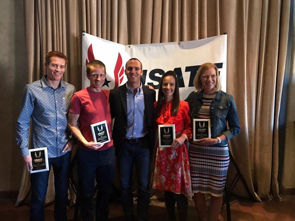 Left to right: Carl Dargitz, Jason Batterson, Men's Long Distance Running chair Nick Scarpello, Hilary Corno, and Amy Halseth pose with their awards.