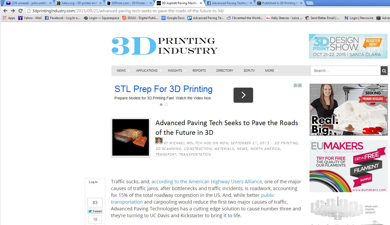Published in 3D Printing Industry — Advanced Paving Technologies