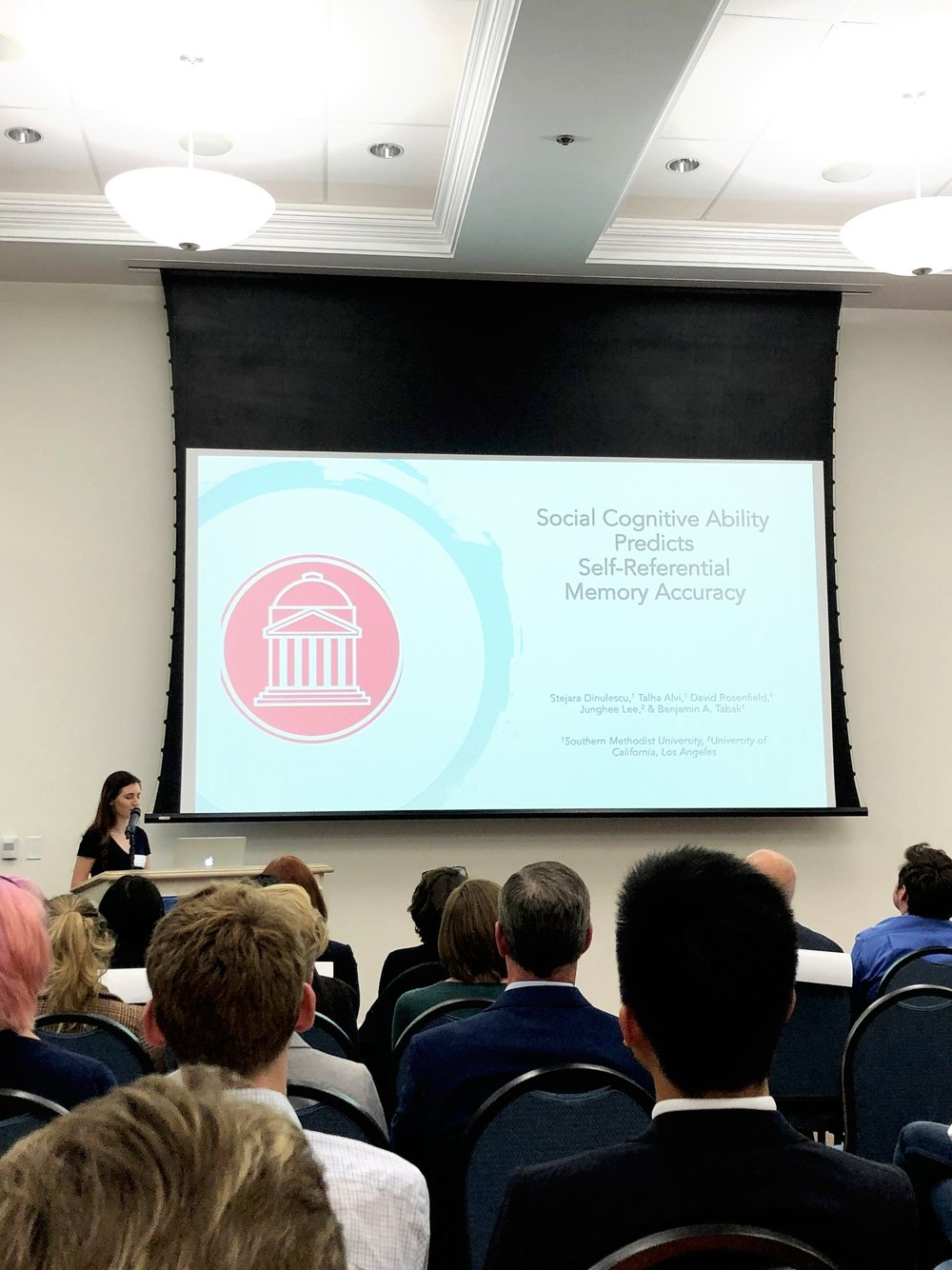 - In April, Senior Undergraduate Stejara Dinulescu presented our paper, currently under review, examining the association between social cognitive ability and self-referential processing. Congratulations to Stejara on being one of the few scholars selected to give a talk and on delivering a wonderful presentation