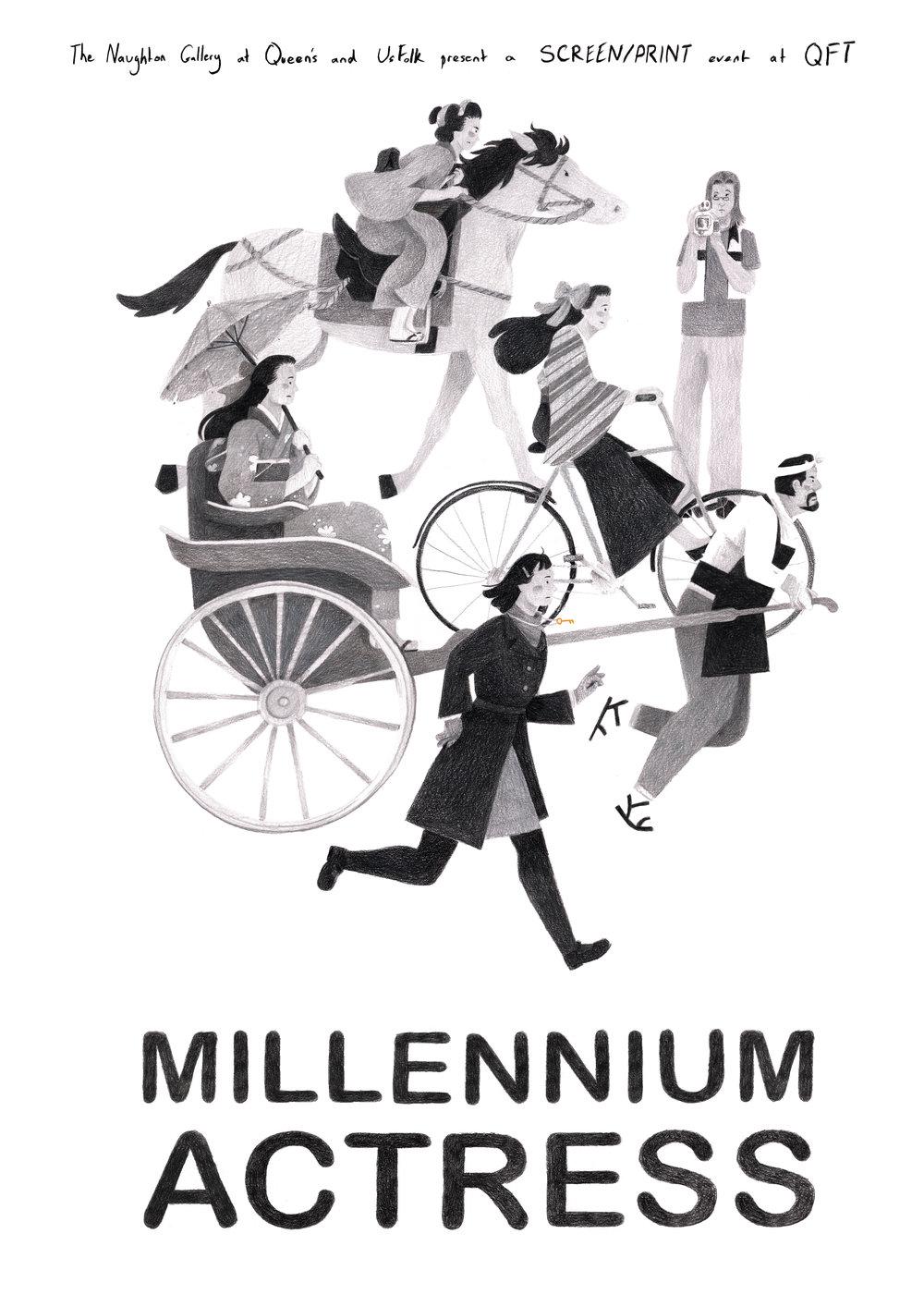 'Millennium Actress' Poster - SCREEN/PRINT Exhibition, Naughton Gallery, 2018