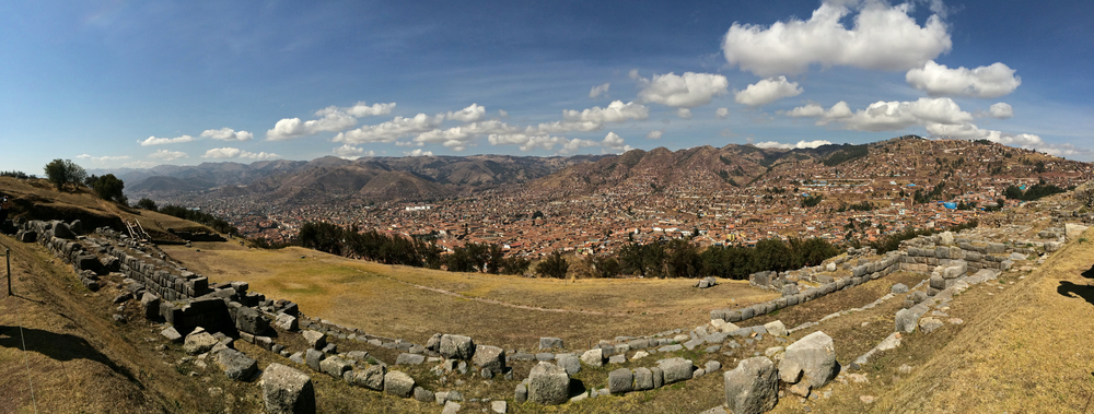 Panoramic view of Cusco, seen from the Sacsayhuaman Ruins.