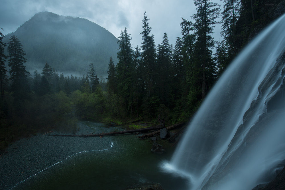 In a remote corner of Vancouver Island's west coast, a large waterfall surges with spring rain.