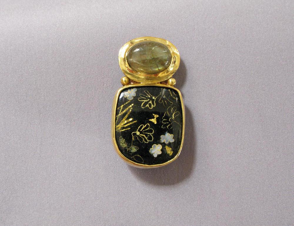 Japanese Laquer II, brooch. Gold, silver, enamel, labradorite. 3.9 x 2 cm. $2800