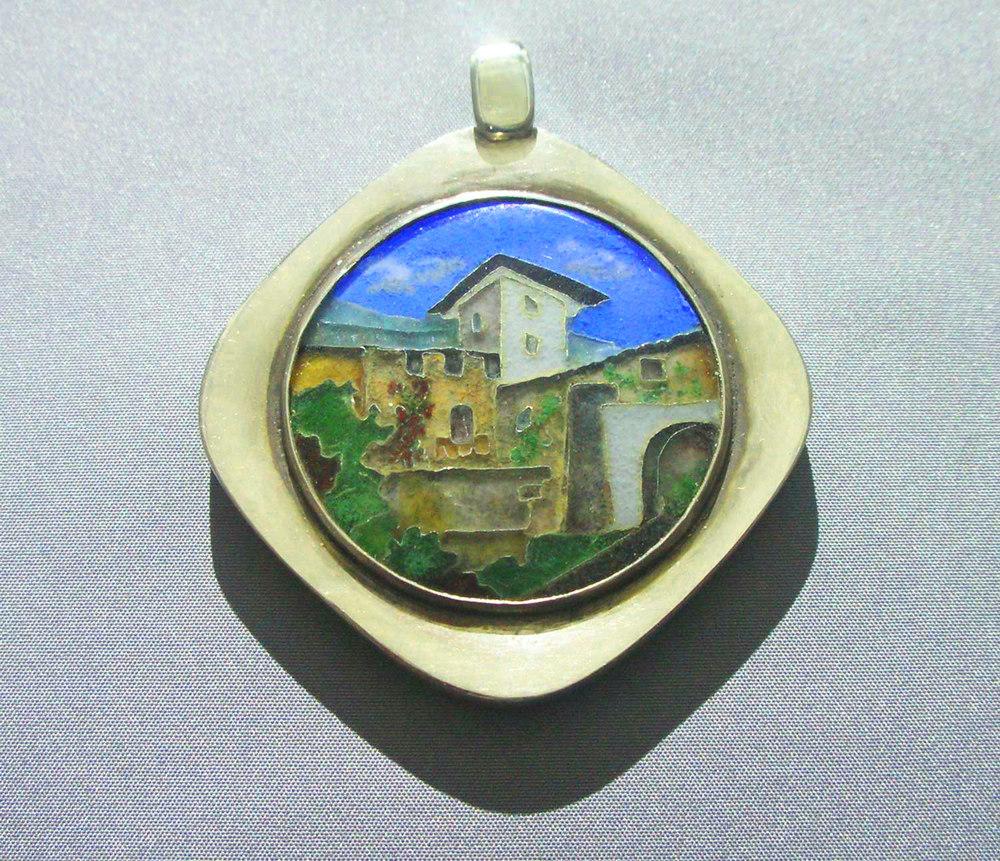 North Italian Scene, pendant. Silver, enamel. 6 x 5 cm. $2000