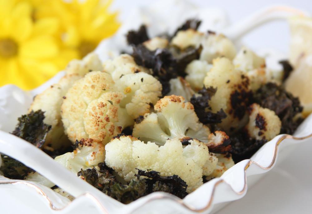 kale cauliflower salad roasted lemon garlic side dish vegetables