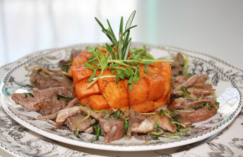 meat stir fry sweet potato roasted