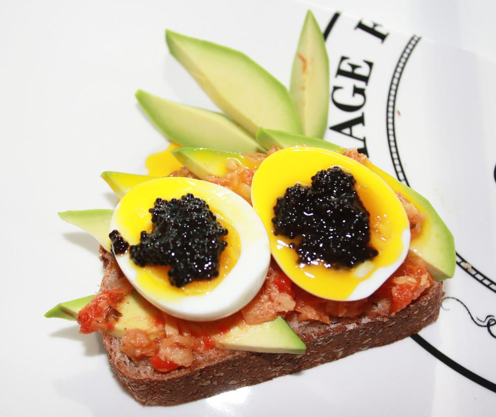 yellow bread spread eggs caviar snack breakfast