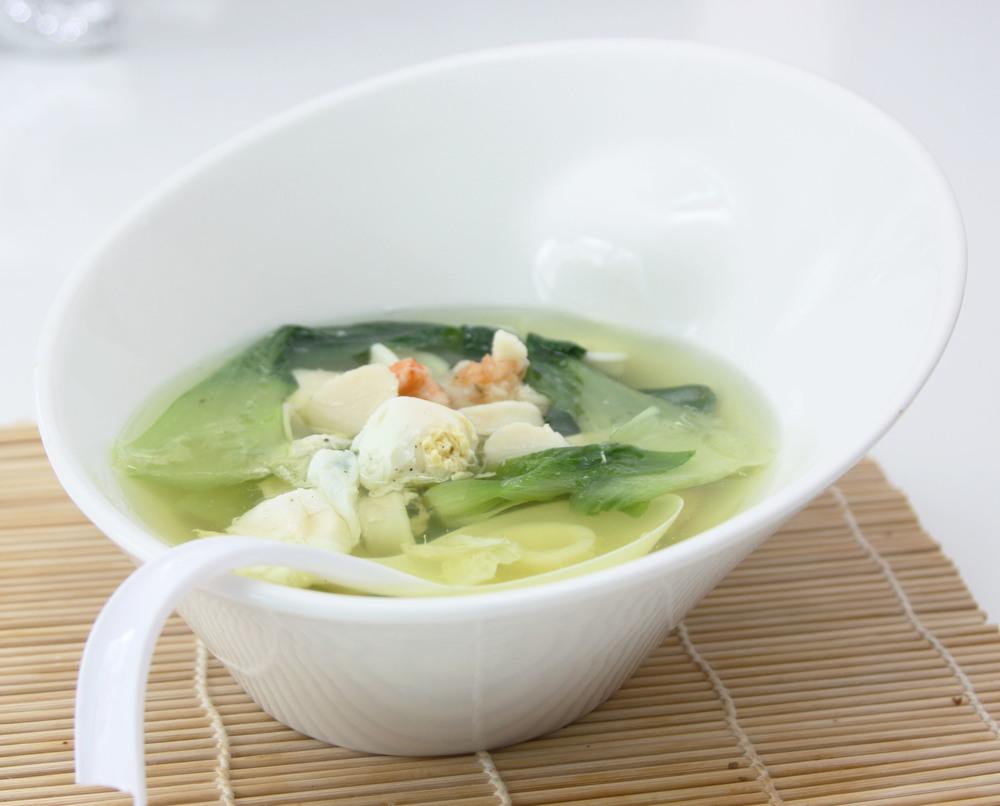 egg drop asian seafood soup bok choy