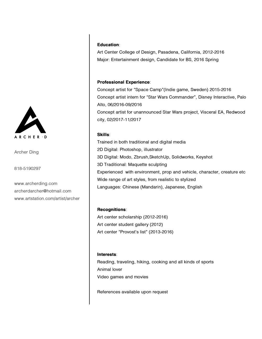 Resume — Archer Ding