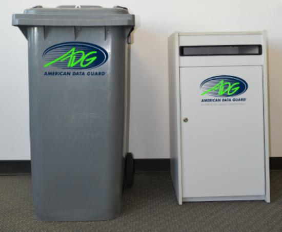 64 gallon bin on left, executive console on right